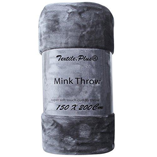 * Textile.Plus* Coperta doppia in visone grigio scuro antracite divano letto/finta pelliccia coperta calda e accogliente 150 x 200