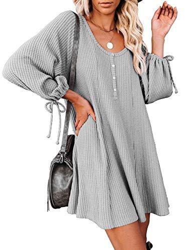 MEROKEETY Women's Waffle Knit Scoop Neck Button Dress Puff Tie Sleeve Flowy Swing Dresses, Grey, S