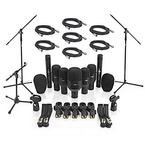 Microfonos para Baterias (7 Unidades) + Soportes y Cables de