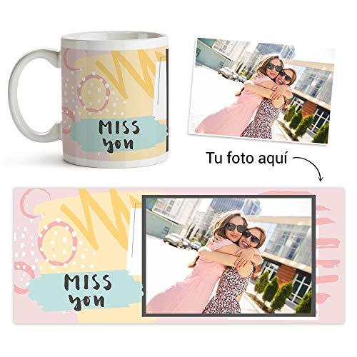 Fotoprix Taza Personalizada con Foto y diseño 'Miss You' | Regalo para Esa Persona Que Echas de Menos | Varios diseños (Miss You 2)