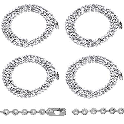 LLMZ Collar de Cadena de Bolas 4pcs Acero Inoxidable Bola Cadena 2mm Collar de Hombre Mujer Plata