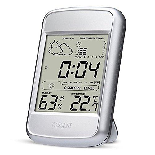 Igrometro/termometro Digitale con lo Schermo Grande, Monitor umidità da interno, Temperatura Digitale, Stazione meteo domestica con display LCD, sveglia,orario, calendario.
