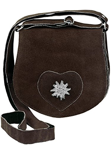 HC Damen kleine Trachtentasche mit Edelweiß, Farben:Dunkelbraun