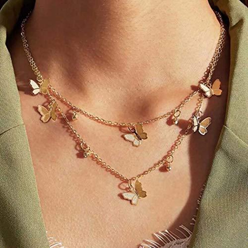 Simsly Boho Collar de doble capa con colgante de mariposa dorada y cadena ajustable para mujeres y...