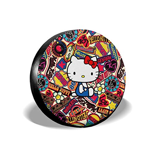 Wind Battle Day Hello Kitty Spare Tire Cover Universal Dust-Proof Waterproof Wheel Covers-for Jeep, Trailer, RV, SUV, Truck and Many Vehicle Wheel Diameter 17inch