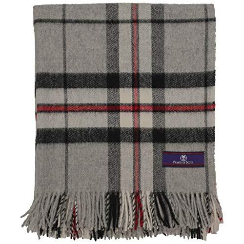 Prince of Scots Highland Tweed - Manta (100% Lana Merina), diseño de tartán, Grey Thompson