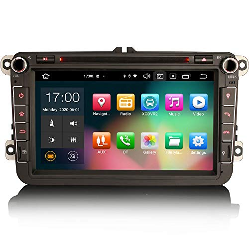 ERISIN 8 pollici Android 10.0 Autoradio per VW Golf 5/6 Passat Jetta Polo Skoda SEDILE Supporto Carplay DSP GPS Navigatore satellitare Android Auto Wifi DAB + TPMS Bluetooth 8-Core 4GB RAM + 64GB ROM