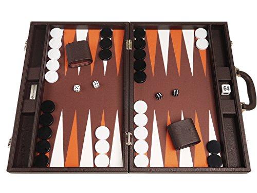 19-inch Premium Backgammon Set - Dark Brown Board