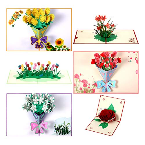 Pop Up Card, 6 Pieces Flower 3D Greetings Card, Mother's Day Flowers Pop Up Card, Thank You Card with Envelope Wife Moms Cards for Mother's Day Birthday Anniversary Wedding Valentines Day