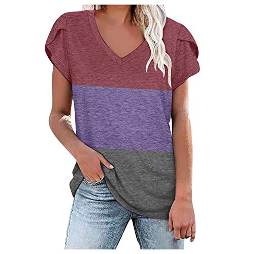 Elegante blusa de manga corta para mujer, hombros extendidos, con estampado de empalmes, holgada, de manga corta, informal, básica, cuello en V, morado, L
