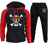SAFTYBAY Men's One Piece Manga 3D Anime Hoodie Pants Jacket Luffy Straw Hat Pirate Flag Cosplay Costume Pullover Sweatshirts (redblack,M)