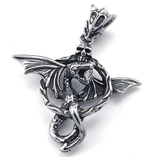 AnaZoz Collana Uomo Ciondolo Argento Acciaio Inossidabile Mystique Serpente Drago 18-26 Polici Catena