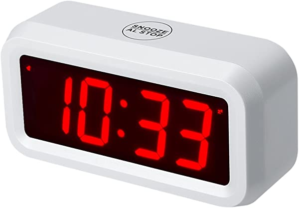 Timegyro Small Wall Shelf Desk Digital Alarm Clock Battery Operated Only Can Running More Than One Year With Batteries White