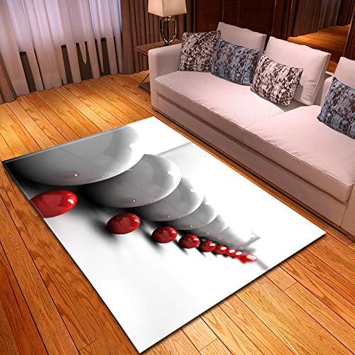 CGZLNL Alfombra de Suelo Bola Blanca Bola roja Home Alfombra Impreso Fácil de Limpiar Salón Comedor Dormitorio Alfombra de Suelo Tamaño: 160 x 230 cm