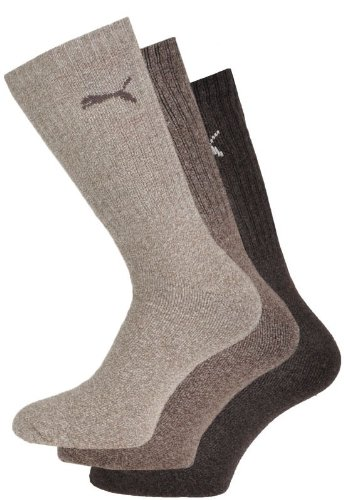 Puma - Unisex Sport Socken 3er Pack, Braun (Dark Brown), 35-38
