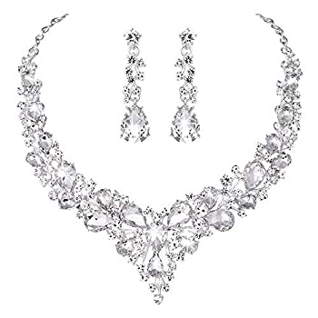 Molie Youfir Bridal Austrian Crystal Necklace and Earrings Jewelry Set Gifts fit with Wedding Dress Clear