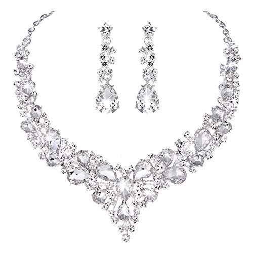 Molie Youfir Bridal Austrian Crystal Necklace and Earrings Jewelry Set Gifts fit with Wedding Dress(Clear)