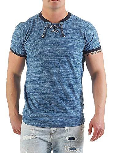NO EXCESS Herren T-Shirt Poloshirt 80350354 (L, blau Melange)