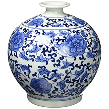 Big Sale ! Classic Chinese Vintage Blue and White Floral Globe Porcelain Decorative Vase