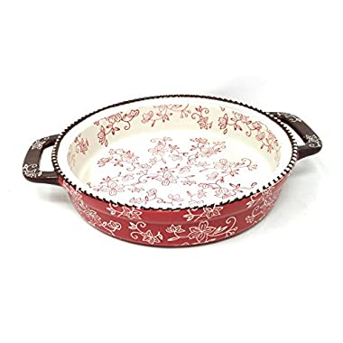 Temp-tations 9  x 1.75  Tart w/ Handles Deep Dish Pizza Pan or Shallow Pie / Quiche 1.0 Quart (Floral Lace Red)