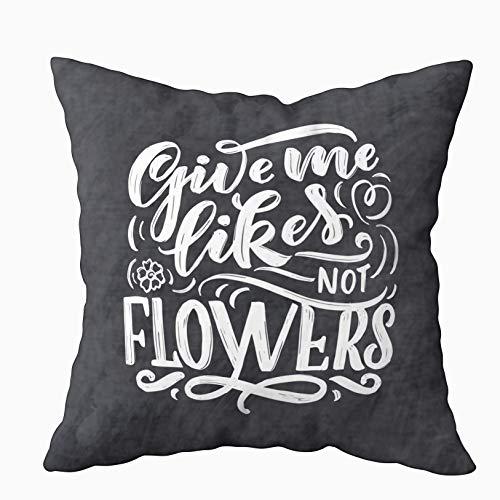 WH-CLA Throw Pillow Covers Letras sobre Flores Hechas En La Tienda De Invitaciones Composición Dibujada A Mano Verde Rojo Cremallera De Colores Impresión A Doble Cara Estándar 45X45Cm Re