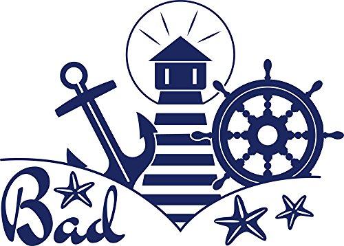 GRAZDesign Türaufkleber Bad Maritim - Badezimmeraufkleber Leuchtturm Steuerrad Anker - Wandtattoo Badezimmer Child / 56x40cm / 650243_40_049