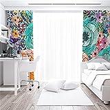 Impresión De Dibujos Animados En 3D Cortinas De Protección Solar De Alto Sombreado Sala De Estar Dormitorio Balcón Habitación De Los Niños Cortinas Insonorizadas Anti-Ultravioleta 2xW140xH175cm