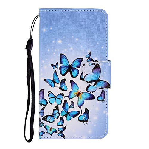 Nadoli für iPhone X/XS Hülle,Blau Schmetterling Muster PU Leder Magnetisch Flip Brieftasche mit Handschlaufe Kartenslot Ständer Klapphülle für iPhone X/XS