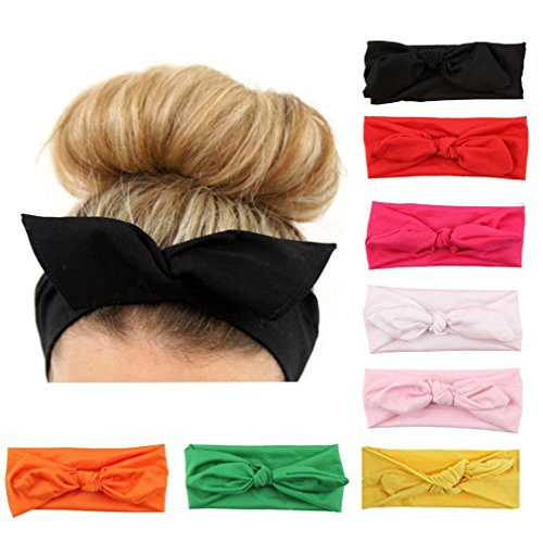 Haodou 8Pcs Women's Hairbands Tie Bowknot Headband Elastic Rabbit Ear Headwear Cute Turban Headdress Cloth 8Pcs
