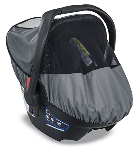 Britax B-Covered All-Weather Infant Car Seat Cover with UPF 50+ | Waterproof Rain and Wind Shield + Ventilated Mesh Window for Insect Protection