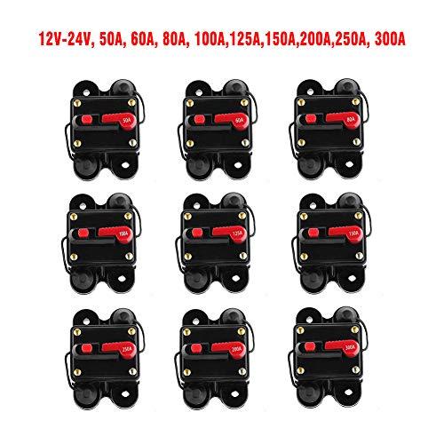 DOEU Automatischer Recovery Circuit Breaker 50A 60A 80A 100A 125A 150A 200A 250A 300A Automatischer Sicherungshalter Stromschutzschalter mit Schalter geeignet für Auto-Audio-Modifikation