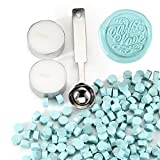 Yoption 360 Pcs Ice Blue Sealing Wax Beads for Wax Seal Stamp with Candles and Melting Spoon