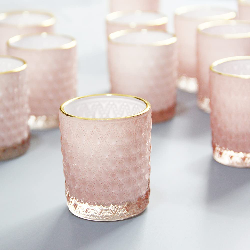 SHMILMH Pink Glass Candle Holder with Gold Tealig online shop 24 High order Rim Set of