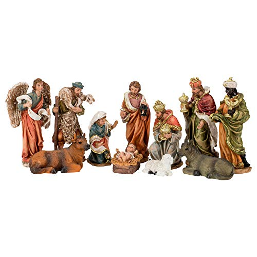 Dicksons Nativity Natural Brown 8 inch Resin Stone Christmas Holiday Figurines Set of 11