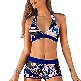 GWELL Femme Maillot de Bain 2 Pièces Haut Push Up Shorts Boxer Bikini Rembourrés...