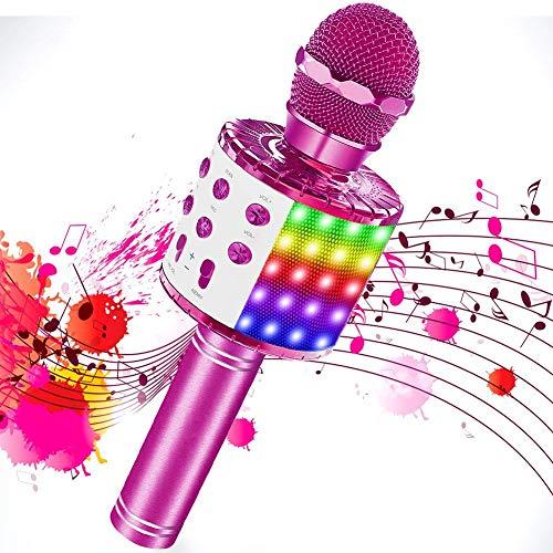 SaponinTree Karaoke Mikrofon, Bluetooth Mikrophon mit Aufnahme, Dynamisches Licht Drahtlose Tragbares Handmikrofon mit Lautsprecher für Erwachsene und Kinder, Kompatibel mit Android IOS PC (Rosa)