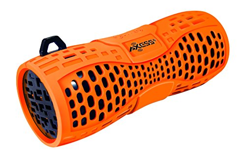 AXESS SPBW1035 Portable Water Resistant Bluetooth Loud Speaker System with Speakerphone to Answer your Calls In Orange
