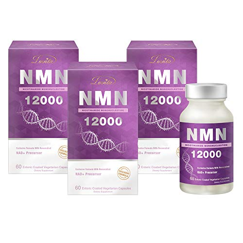 Lovita NMN 12000, NMN Supplement with Resveratrol, 99% High Purity Nicotinamide Mononucleotide, High Absorption & Stabilized Form, for Healthy Aging, 60 Vegetarian Capsules (Pack of 3)