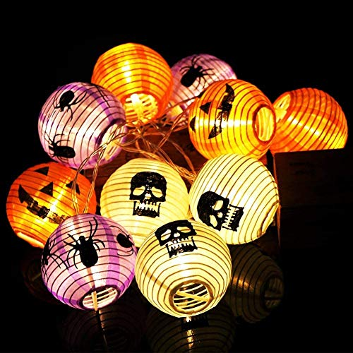 GLOCITI Spider Lights Halloween String Light- 10ft 10 LEDs Halloween Lights Decorations, 2 Lighting Modes Battery-Powered DIY 3D Jack-O-Lantern Purple Spider Lights for Party Patio Indoor Outdoor