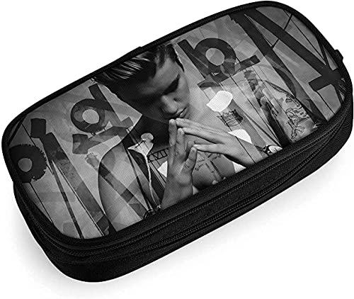 Justin Bieber - Astuccio per matite, grande estetico con cerniera, con scomparti e portapenne