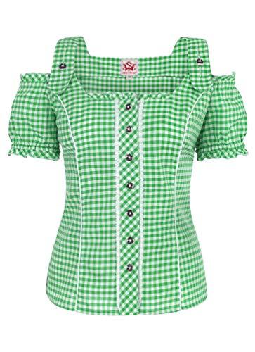 Spieth & Wensky - Damen Trachten Bluse kariert, Pilla (009567-0115), Größe:48, Farbe:Grün/Weiß (2544)