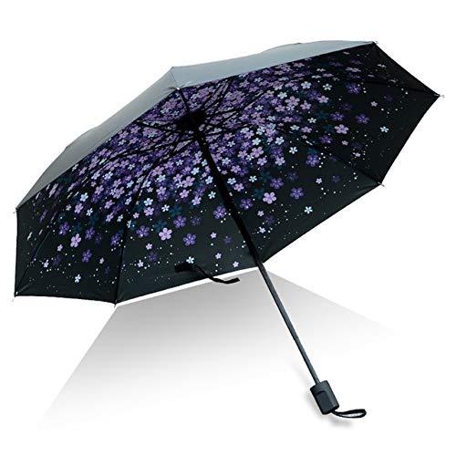 Mdsfe Hochwertiger Regenschirm Mann Regen Frau Winddicht 3D Blumendruck sonnig Anti Sonne 3 Klappschirm Outdoor Regenschirm - wie Bild13