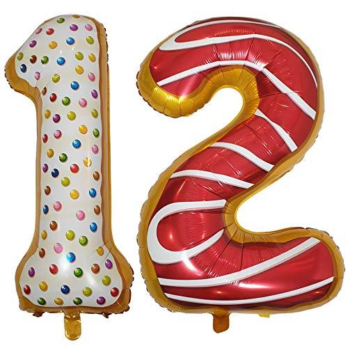 DIWULI, XL Zahlen-Ballons, Zahl 12, Sweet Donut Luftballons, süße Zahlenluftballons, Folien-Luftballons Nummer Nr Jahre, Folien-Ballons für 12. Geburtstag, Motto-Party, Dekoration, Geschenk-Deko