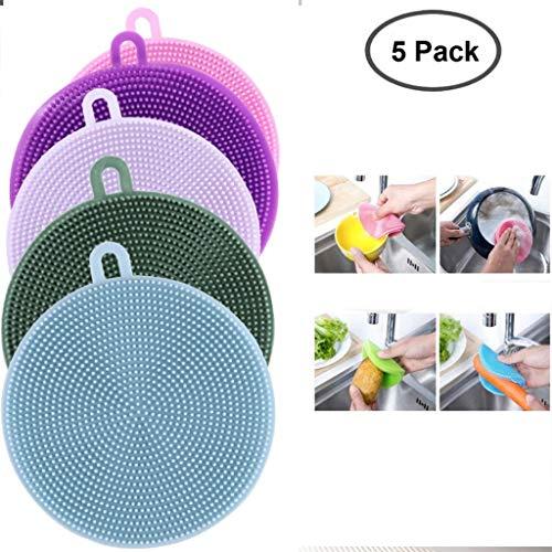 Paquete de 5 Silicona depurador, multipropósito de Cocina Scrub esponjas de Limpieza Cepillos de Silicona esponjas for Olla de Frutas y Verduras (Color : 5 pcs)