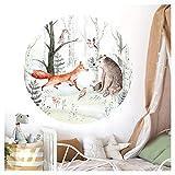 Little Deco Wandtattoo Kinderzimmer Wandsticker Waldtiere 60 cm rund Wanddeko Spielzimmer Sticker Kinder Wandaufkleber Baby Mädchen Junge Baum Fuchs Bär DL556