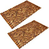 Deuba Set de 2 alfombras de baño de Madera de Acacia mosaik pre-aceitada 80x50cm pies de Caucho...