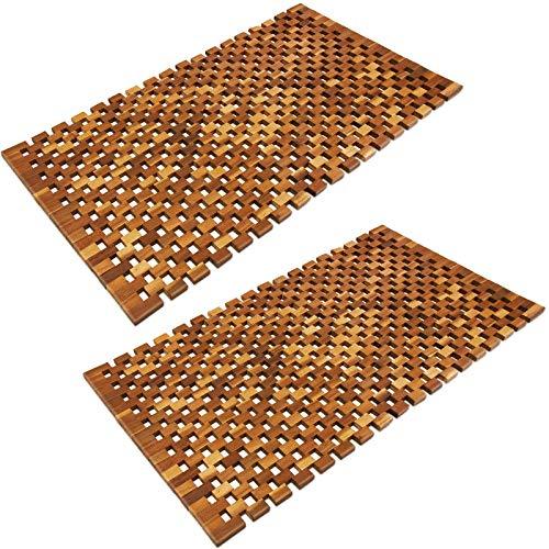 Deuba Set de 2 alfombras de baño de Madera de Acacia