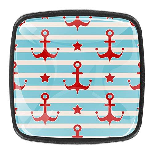 Perillas de cajones con diseño de estrellas y marineros, color rojo