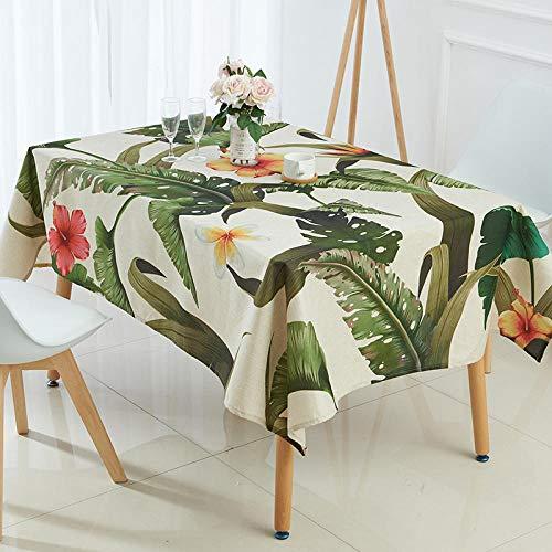 RTTGOR Tischdecke Tischdecke Tropisches Bananenblattmuster Drucktischdecke Leinenmäntel para Mesa Rectangulares En Tela Nappe Tischdecke