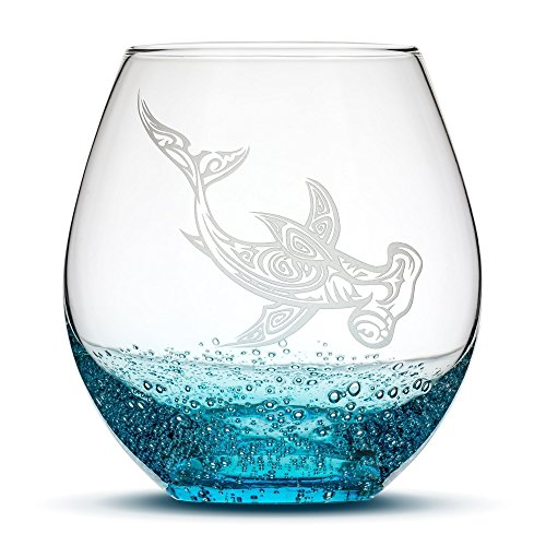 Bubbly Turquoise Wine Glass - Hand Etched Tribal Hammerhead Shark Design - Sand Carved by Integrity Bottles
